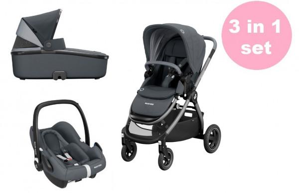 Maxi Cosi Adorra Kinderwagen Set 3 in 1 (Oria Babywanne & Rock Babyschale)