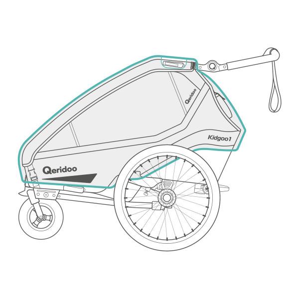 Qeridoo Regenhoes voor Kidgoo Fietsaanhanger vanaf 2020 Modellen