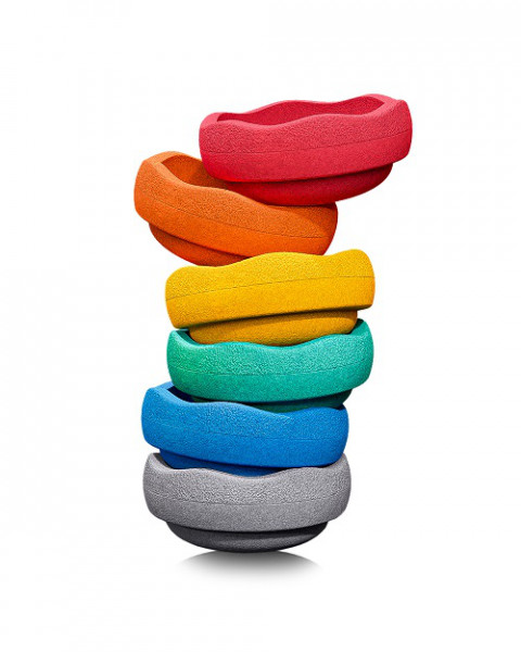 Stapelstein Rainbow Basic Set 6 stuks GREY EDITION