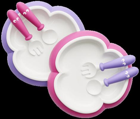 BabyBjörn Kinderteller, Löffel und Gabel, 6 Teile Pink/Lila