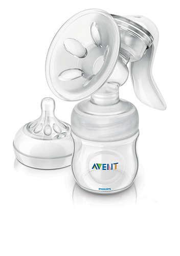 Philips AVENT Komfort-Milchpumpe mit 125ml Naturnah-Flasche und Probepackung Stilleinlagen