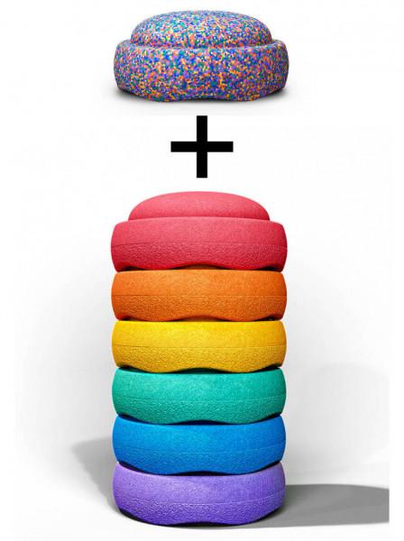 Stapelstein Rainbow Basic Set 6 stuks + Gratis Confetti Stapelstein